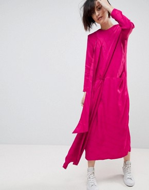 photo Twist Tie Detail Midi Dress by ASOS WHITE, color Magenta Pink - Image 1