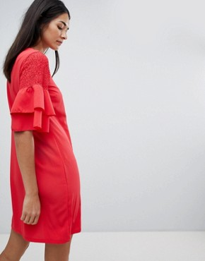 photo Keyhole Dress with Tiered Sleeve by Vila, color Lollipop - Image 2
