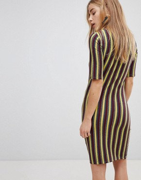photo Stripe Bodycon Dress by First & I, color India Ink With Stripe - Image 2