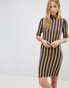 photo Stripe Bodycon Dress by First & I, color India Ink With Stripe - Image 1