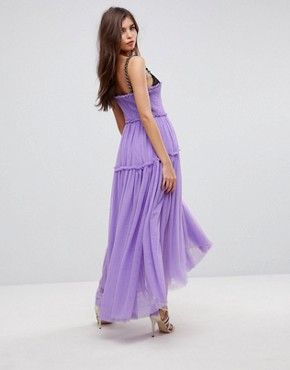 photo Tulle Dip Back Maxi Dress with Chain Straps by ASOS EDITION, color Purple - Image 2