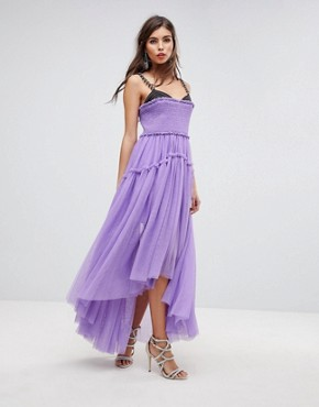photo Tulle Dip Back Maxi Dress with Chain Straps by ASOS EDITION, color Purple - Image 1