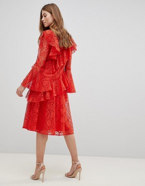 photo Lace Midi Dress with Ruffles and Fluted Sleeves by ASOS, color Red - Image 2