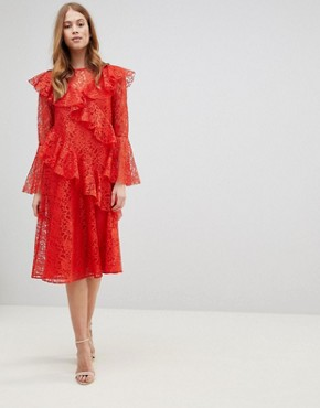 photo Lace Midi Dress with Ruffles and Fluted Sleeves by ASOS, color Red - Image 1
