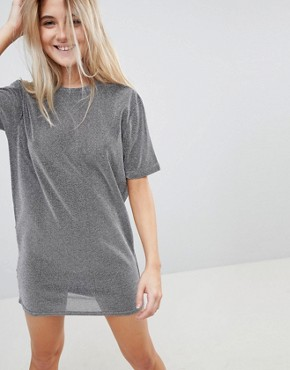 photo Metallic Open Back T-Shirt Dress by Uncivilised, color Grey - Image 2