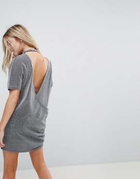 photo Metallic Open Back T-Shirt Dress by Uncivilised, color Grey - Image 1