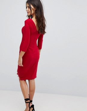 photo Long Sleeve Pencil Dress with Side Split and Applique Detail by Little Mistress, color Red - Image 2