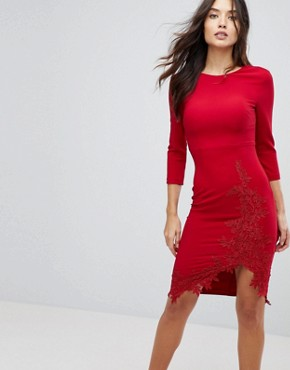 photo Long Sleeve Pencil Dress with Side Split and Applique Detail by Little Mistress, color Red - Image 1