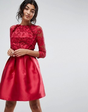 photo 3/4 Sleeve Satin Skater Dress with Lace Upper by Little Mistress, color Berry - Image 1