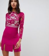photo Long Sleeve Skater Dress with Lace Upper by Little Mistress, color Raspberry - Image 1