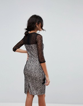 photo 3/4 Sleeve Contrast Lace Dress by Little Mistress, color Black - Image 2