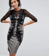 photo 3/4 Sleeve Contrast Lace Dress by Little Mistress, color Black - Image 1