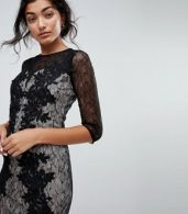 photo 3/4 Sleeve Contrast Lace Dress by Little Mistress, color Black - Image 3