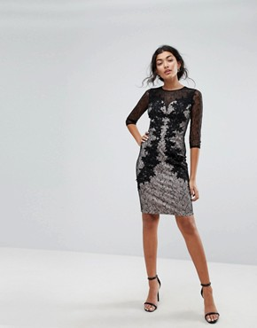 photo 3/4 Sleeve Contrast Lace Dress by Little Mistress, color Black - Image 4