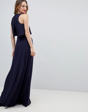 photo Crop Top Thigh Split Maxi Dress by ASOS TALL, color Navy - Image 2