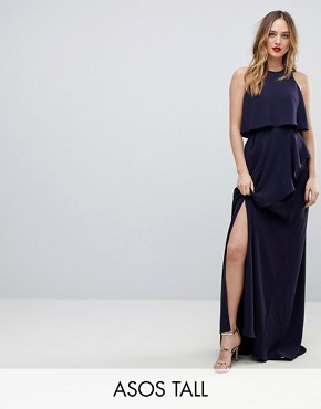 photo Crop Top Thigh Split Maxi Dress by ASOS TALL, color Navy - Image 1