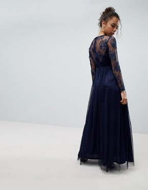 photo Lace Maxi Dress with Long Sleeves by ASOS PETITE, color Navy - Image 2