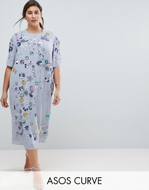 photo Embellished T-Shirt Longer Length Midi Dress by ASOS CURVE, color Multi - Image 1