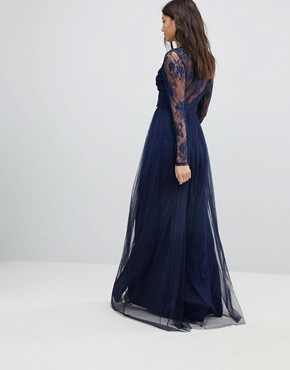 photo Lace Maxi Dress with Long Sleeves by ASOS TALL, color Navy - Image 2