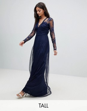 photo Lace Maxi Dress with Long Sleeves by ASOS TALL, color Navy - Image 1