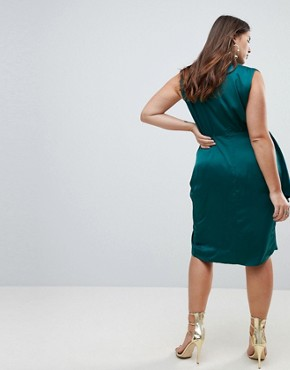 photo Slinky Wrap Skirt Midi Dress with Neck Choker by ASOS CURVE, color Dark Green - Image 2