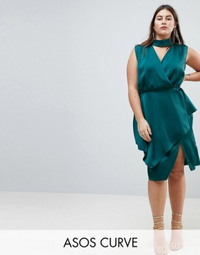 photo Slinky Wrap Skirt Midi Dress with Neck Choker by ASOS CURVE, color Dark Green - Image 1