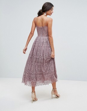 photo Lace Cami Midi Prom Dress by ASOS TALL, color Dusky Lilac - Image 2