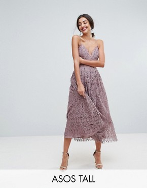 photo Lace Cami Midi Prom Dress by ASOS TALL, color Dusky Lilac - Image 1