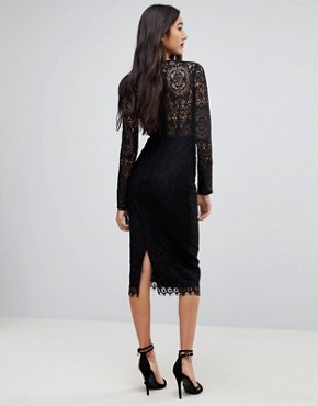 photo Long Sleeve Lace Midi Pencil Dress by ASOS TALL, color Black - Image 2