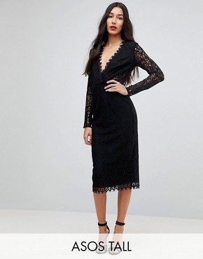 photo Long Sleeve Lace Midi Pencil Dress by ASOS TALL, color Black - Image 1
