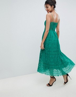 photo Lace Cami Midi Prom Dress by ASOS TALL, color Green - Image 2