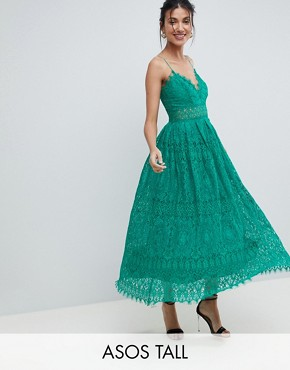 photo Lace Cami Midi Prom Dress by ASOS TALL, color Green - Image 1
