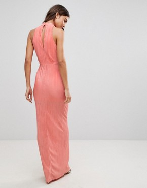 photo Pleated Maxi Dress by Love, color Coral - Image 2