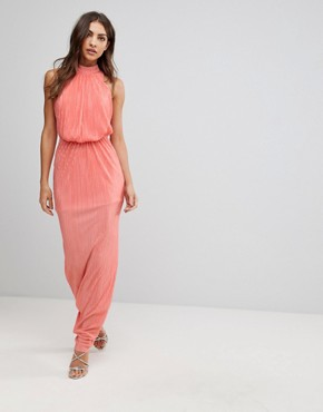photo Pleated Maxi Dress by Love, color Coral - Image 1