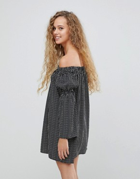 photo Polka Dot Bardot Bell Sleeve Tunic Dress by Love, color Black/White - Image 2
