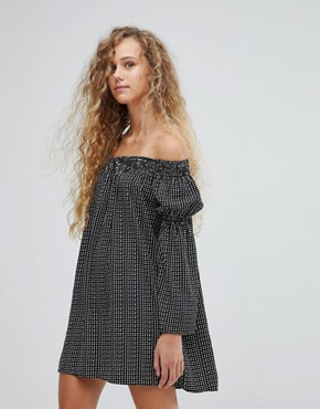 photo Polka Dot Bardot Bell Sleeve Tunic Dress by Love, color Black/White - Image 1