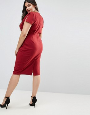 photo Split Cap Sleeve Midi Dress with Modern Ring Belt by ASOS CURVE, color Burnt Orange - Image 2