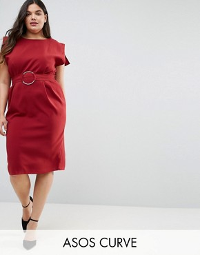 photo Split Cap Sleeve Midi Dress with Modern Ring Belt by ASOS CURVE, color Burnt Orange - Image 1