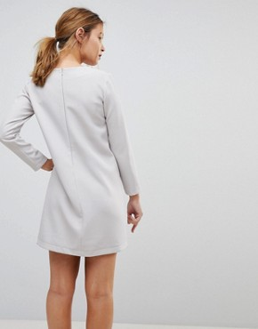photo Asymmetric Clean Shift Mini Dress by ASOS PETITE, color Silver - Image 2