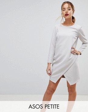 photo Asymmetric Clean Shift Mini Dress by ASOS PETITE, color Silver - Image 1