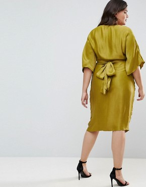photo Kimono Sleeve Midi Dress with Pleated Waist by ASOS CURVE, color Chartreuse - Image 2