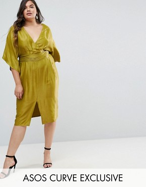 photo Kimono Sleeve Midi Dress with Pleated Waist by ASOS CURVE, color Chartreuse - Image 1