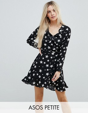 photo Star Print Ruffle Wrap Mini Dress by ASOS PETITE, color Star - Image 1
