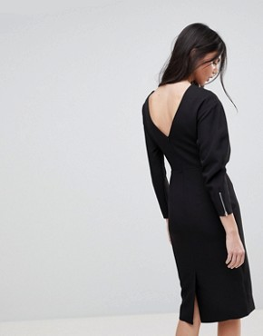 photo Long Sleeve Midi Pencil Dress by ASOS TALL, color Black - Image 2