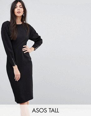 photo Long Sleeve Midi Pencil Dress by ASOS TALL, color Black - Image 1