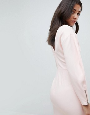 photo Long Sleeve Midi Pencil Dress by ASOS TALL, color Blush - Image 2