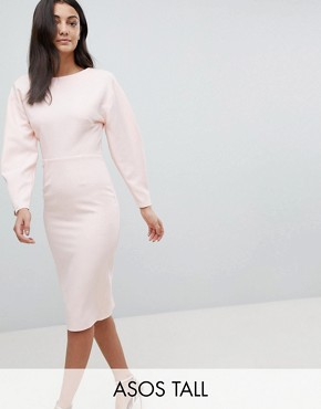 photo Long Sleeve Midi Pencil Dress by ASOS TALL, color Blush - Image 1