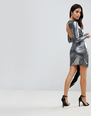 photo Metallic Bodycon Knot Front Slinky Mini Dress by ASOS, color Silver - Image 2