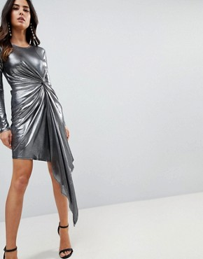 photo Metallic Bodycon Knot Front Slinky Mini Dress by ASOS, color Silver - Image 1