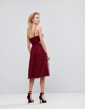 photo Dobby High Neck Midi Dress with Cut Out Sides by ASOS, color Plum - Image 2